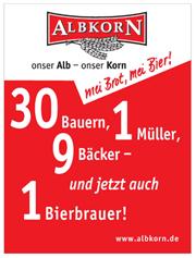 Albkorn-Anzeige von 2008: 30 Bauern, 1 Müller, 9 Bäcker - und jetzt auch 1 Bierbrauer!