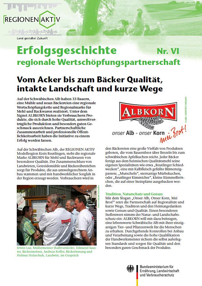 Erfolgsgeschichte Albkorn Titelblatt