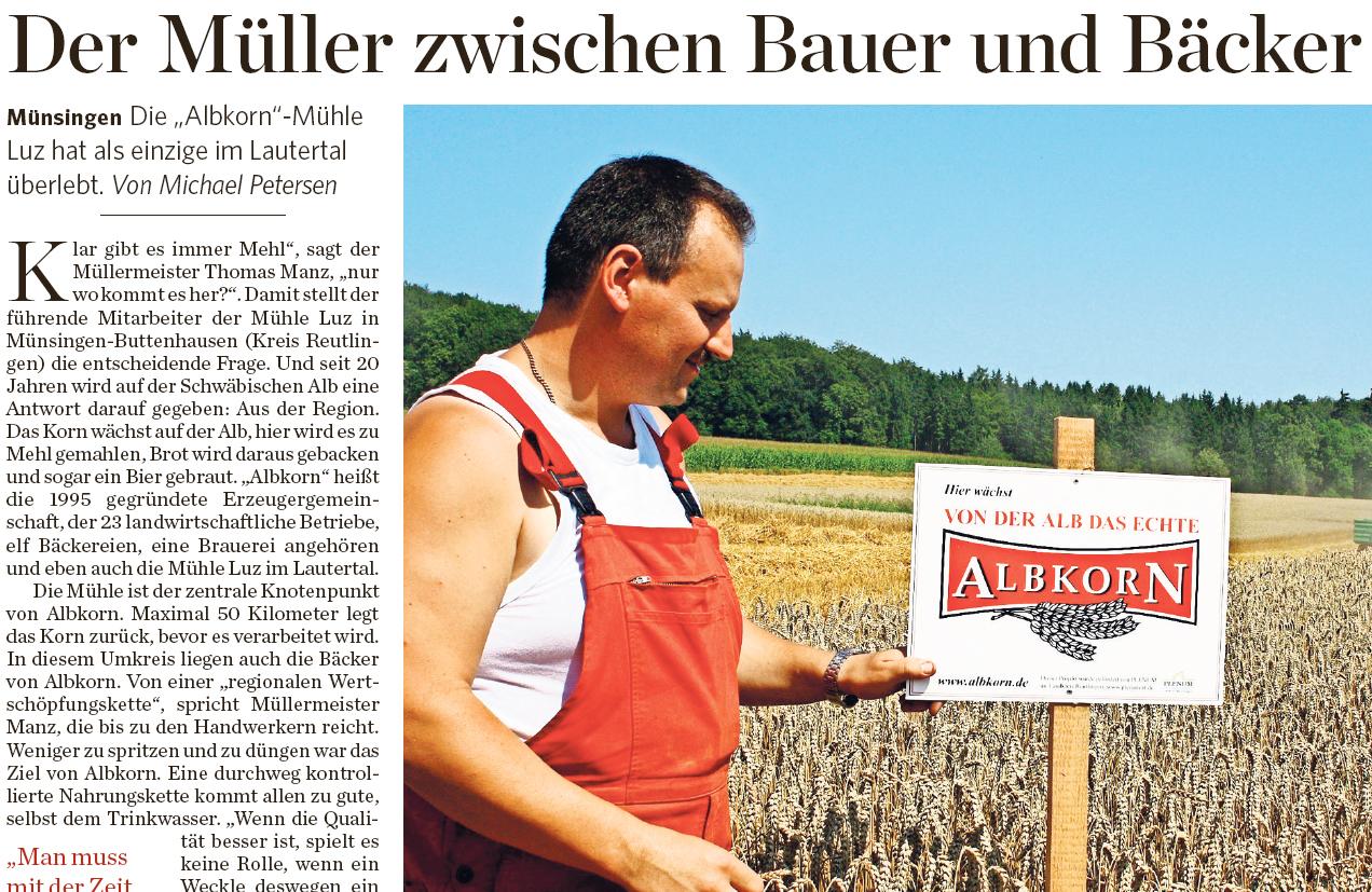 Stuttgarter Zeitung vom 03.09.2015 über die Albkorn-Mühle Luz in Buttenhausen