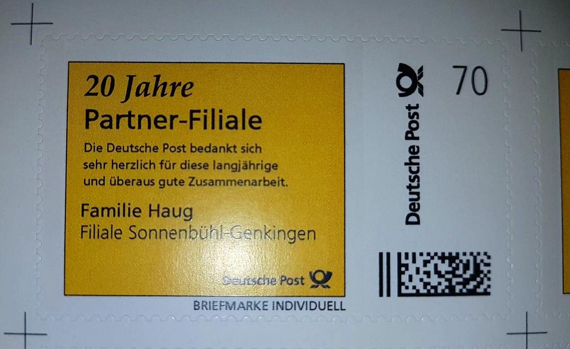 """Briefmarke mit Aufdruck """"20 Jahre Partner-Filiale"""""""
